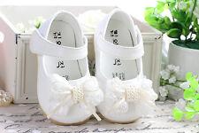 NUEVO de niña Blanco Bautizo Zapatos 18-24 meses