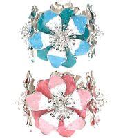Diseñador Chic Esmalte Hibisco Flores Pulsera Elástica Cristales Swarovski
