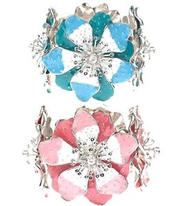 Designer Chic Enamel Hibiscus Flowers Elasticated Bracelet w/ Swarovski Crystals