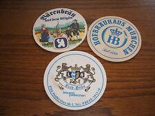 3 Bierdeckel,  Bärenbrau, Laib-Bräu, Hofbräuhaus