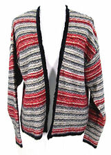 H & M Sweater Sz M Open Cardigan Cardi Mohair Wool Knit Stripe Medium Womens