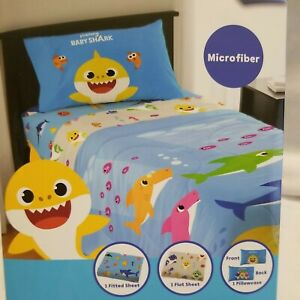 Baby Shark Twin Kids Bedding Flat Fitted Sheet 3pc Bed Set Reversable Pillowcase