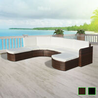 vidaXL Patio Wicker Rattan Garden Set Outdoor Sofa Lounge Couch Brown/Black