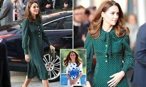 New LK Bennett Mortimer Green Polka Dot Silk Dress Size UK 8