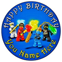 """NINJAGO TEAM PARTY - 7.5"""" PERSONALISED ROUND EDIBLE ICING CAKE TOPPER"""