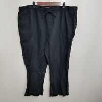 Merona Womens Linen Pants 3 3X Black Elastic Waist Loose Fit Flat Front Plus