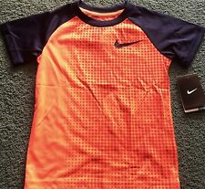 NWT Nike Boys 6 Neon Red/Navy Blue Graphic Dot Print Dri-Fit Shirt 6