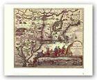 Map of North Eastern America Joan Blaeu Art Print 19x22