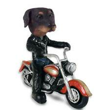 Uncropped Black Doberman Pinscher on a Motorcycle Stone Resin Figurine Statue