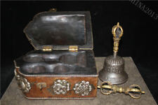 "8.2"" Tibet Temple Pure Bronze Old Wood Gilt Silver Beast Vajra Faqi Bell Set"