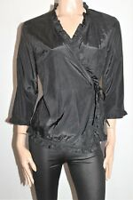 ELLIMAN Designer Black Frill Trim Wrap Around Blouse Top Size 12 BNWT #TB29