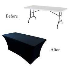 6 ft Black Dj Table Cover Stretch Scrim Spandex Type Table Skirt Facade Cover Up