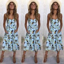 Women Strappy Button Pocket Lady Off Shoulder Summer Beach Midi Swing Sun Dress