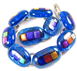 """DICHROIC Link Bracelet Turquoise Blue Rainbow Dots Fused Glass Dots .5"""" x 7.5"""""""