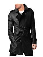 MEN'S STYLISH BELTED BLACK LONG COAT, LEATHER TRENCH COAT, PEA COAT-BNWT
