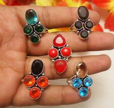 BLUE TOPAZ CARNELIAN CORAL CITRINE & MIX GEMSTONE SILVER PLATED 5PCS RING