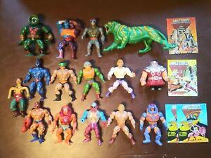 vintage he-man motu action figures lot plus bonus comics and battlecat
