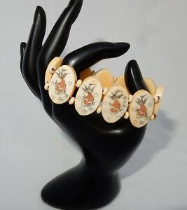 Vintage Chinese Export Scrimshaw Bone Panel Bracelet Feng Shui Lucky Goldfish
