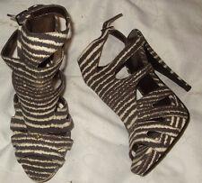 New Look, brown stripe canvas PeepToes. 1'' plat 5'' heel. size 5. NEW