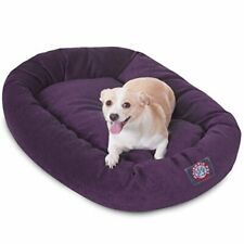 32 inch Aubergine Villa Collection Micro Velvet Bagel Dog Bed By Majestic Pet.