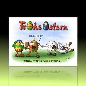 10 witzige Osterkarten, Postkarten, lustiger Cartoon, Osterpostkarten Ostereier