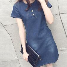 Women Plus Size Korean Casual Denim Sexy Evening Dress Midi Dresses Mini Dress0c