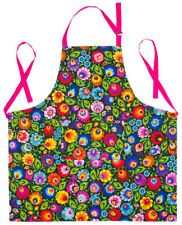 BLACK KITCHEN APRON WITH PATTERNS inspired by Polish Folk Art from Lowicz