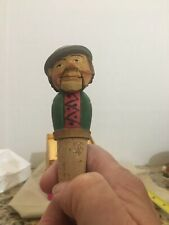 Vintage Anri Carved Wood Bottle Stopper Cork Mechanical - Mouth Opens and Closes