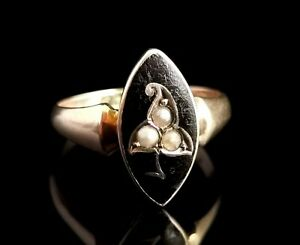 Antique navette Mourning Ring, black enamel and pearl, Ivy leaf, 9ct yellow gold