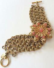 Vintage Miriam Haskell Multi Strand Bracelet~Pearls/Beads/Gilt Filigree/Goldtone