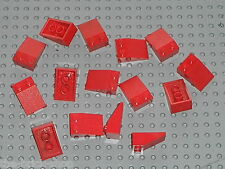 15 x LEGO Red slope brick 3298 / Toit maison gare - roof train station house...