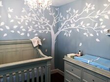 White Birch Tree Wall Decal For Nursery Vinyl Cute Owl Tree Wall Sticker Art