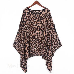 UK Punk Kaftan Leopard Print Tunic Top Batwing Oversize Poncho Shirt Blouse