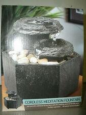 SEXTAGON HEXAGON TWO LEVEL Black Cordless Meditation Table Fountain Gift NIB