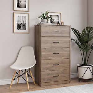 Wooden Classic 5-Drawer Dresser Cabinet Natural Wood Drawers Furniture