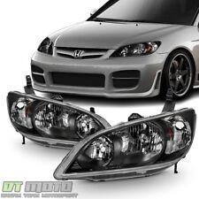 For 2004-2005 Honda Civic 2/4 Door Headlights JDM Black Headlamps Set Left+Right