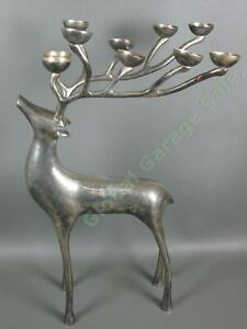 """Pottery Barn Silver Plated 20""""In Christmas Reindeer Candelabra 10 Candle Holder"""