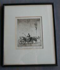 VTG Framed Original Etching Levon West Un Coche Kennedy & Co New York 11x13-CL