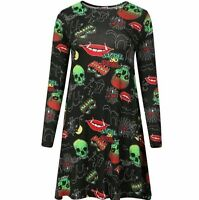 Plus Women Ladies Halloween Printed Long Sleeve Swing Dress UK16/18 20/22 24/26