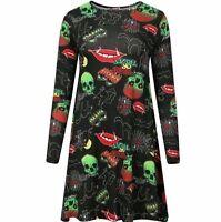 Plus Women Ladies Halloween Printed Long Sleeve Swing Dress UK16/18 20/22 24/26