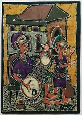"YINKA ADEYEMI (NIGERIAN B.1941) SIGNED ORIGINAL AFRICAN BATIK ART OF ""MUSICIANS"""