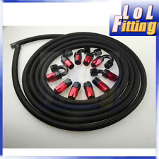 AN8 -8AN NYLON BRAIDED OIL/FUEL Hose & Fitting Hose End Adaptor Red And Black