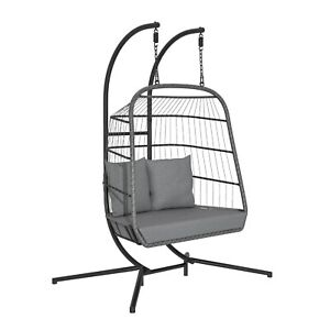 Grey Double Garden Egg Swing Chair - 2 Seater - Stand Included