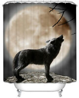 Wolf Howling at Moon Fabric SHOWER CURTAIN 70x70 w/Hooks