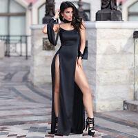 Sexy Women spaghetti strap bodycon clubwear cocktail party high slit maxi dress