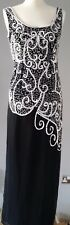 LADIES LONG DRESS BLACK WITH WHITE BEADS & SEQUINS KALEIDOSCOPE SIZE UK 10
