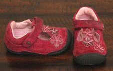 Stride Rite Pink Suede Shoes sz 4 Toddler Girl Flex Sole Mary Janes Flower