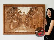 """51"""" 3D Decor Picture City carved panel in hard wood with excellent details"""