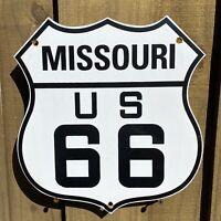 VINTAGE ROUTE 66 US PORCELAIN SIGN MISSOURI USA OIL GAS ROAD SHIELD PETROLIANA
