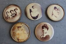 Antique Tin Convex Photo Celluloid Frame Ornate VICTORIAN Lot Mother Child Photo